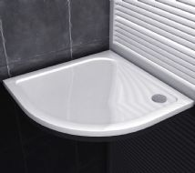 Premium Low Profile Gloss White Stone Resin Quadrant Shower Tray